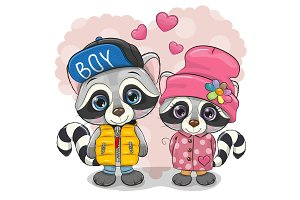 Two cute cartoon Raccoons boy and