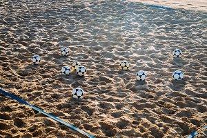 Volleyballs on beach