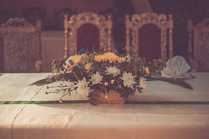 Luxurious chairs and flowers on the