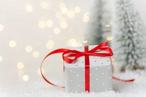 Elegant silver gift box Christmas