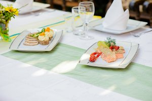 Fish dish and meat dish