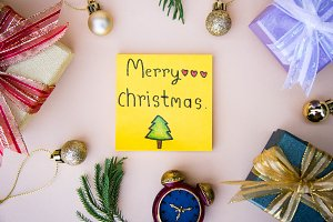 christmas background  and paper note