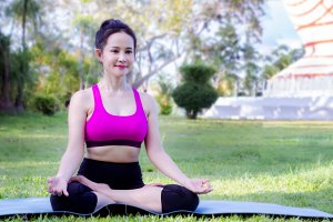 sport girl's sitting practice yoga