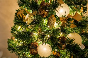 close-up view of a Christmas tree de