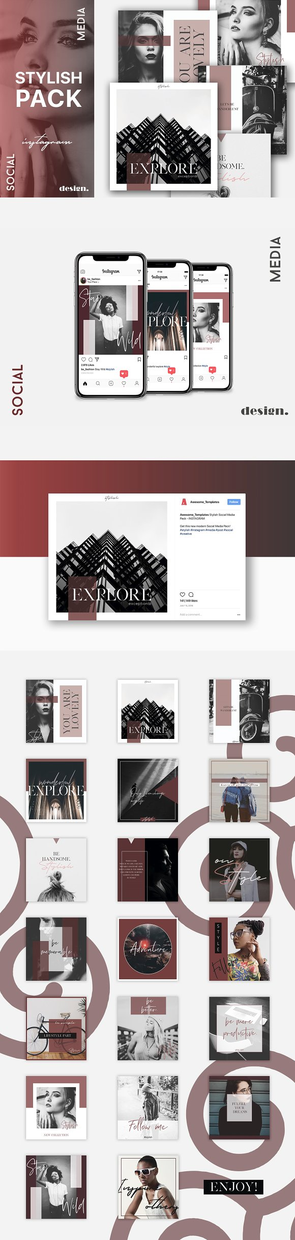 Stylish Social Media Pack  in Instagram Templates - product preview 8