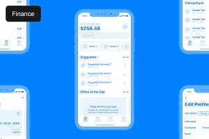 Finance iOS Wireframe Kit for Adobe