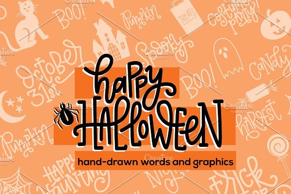 Handdrawn Halloween Graphics + Words