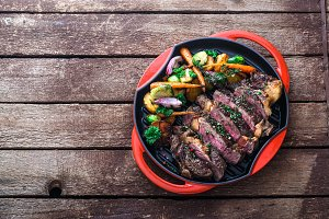 Grilled Beef Steak on grill iron pan