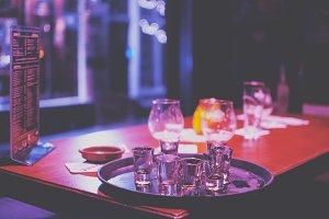 bar table at night