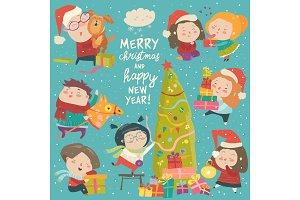 Happy cartoon children with