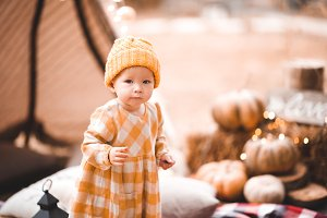 Autumn portrait of baby