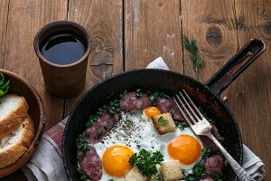 Sunny side egg with sausage for the