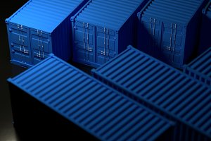 Many blue Port containers. 3d render