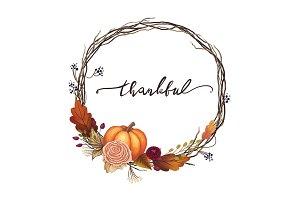 Thankful Thanksgiving Wreath Art