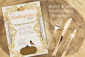 Acorn Leaf Thanksgiving Invitation