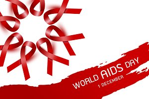 World aids day design of red ribbon