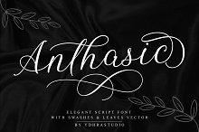 SALE! Anthasic Font + Extras by  in Script Fonts