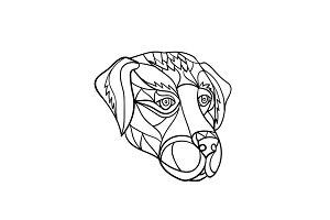 Labrador Dog Head Mosaic Black and W