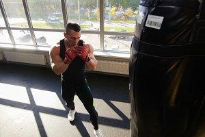Muscular bodybuilder in training