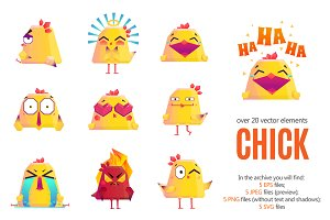 Chicken Emoticons Set