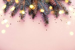 Christmas coniferous border with con