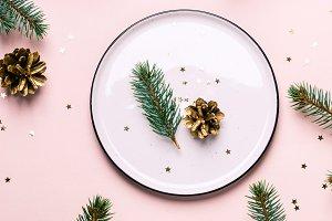 Christmas festive table setting. Whi