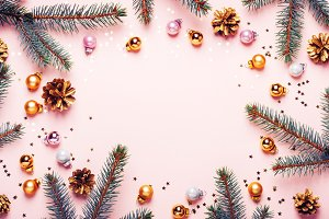 Pastel Pink Christmas Background. Fe