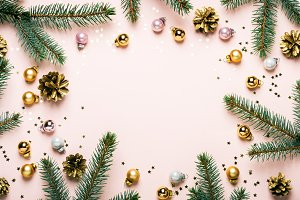 Pastel Pink Christmas Festive frame