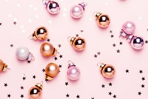 Holiday Christmas pink flat lay with