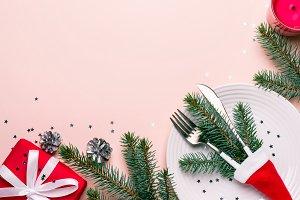 Christmas festive table setting. Fir