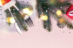 Christmas festive border. Glowing Fi