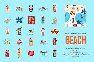 Beach Cartoon Set