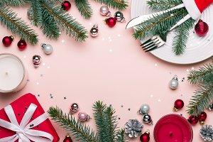 Christmas festive frame with Christm