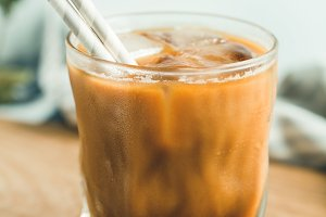 Refreshing iced latte in a glass