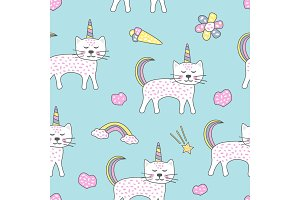 Childish pattern with cats unicorn