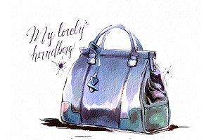 Watercolor female brown handbag