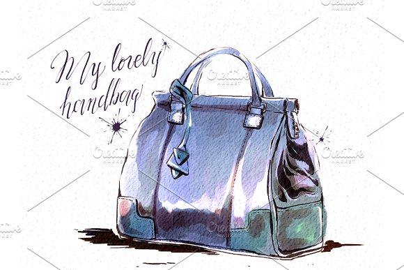 Watercolor Female Brown Handbag Illustrations