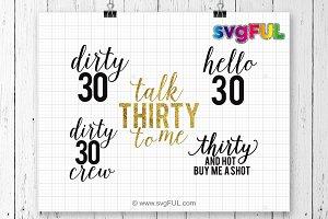Glitter Thirty Birthday SVG Clip Art