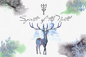 Spirits of the North. Watercolor set