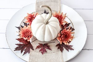 Fall Pumpkin Plate 2 -Stock Photo