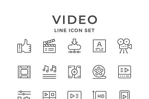Set line icons of video