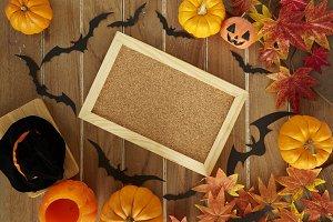 Halloween Decoration on  Wood Table