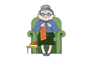 grandmother knits in a chair. Vector