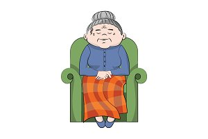 Grandmother sitting asleep in chair