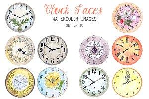 Watercolor Clock Faces Clipart