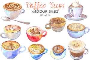 Watercolor Coffee Cups Clipart
