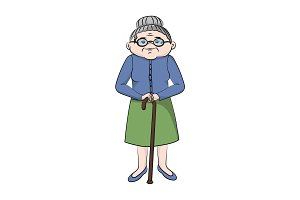 Grandmother with a cane. Vector