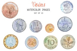 Watercolor Coins Clipart