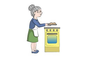 Grandmother cooks pies near  stove