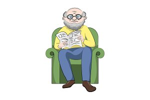 Grandfather in a chair reading news